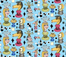 chess pieces, large scale, blue red green gray white black yellow