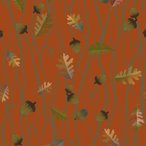Wavy Oak Leaves and Acorns - vert