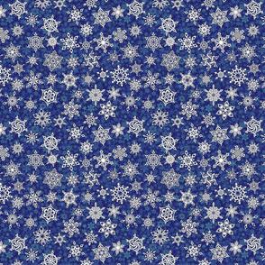 geometric snowflakes on denim blue snowstorm