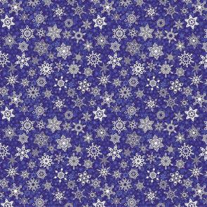 geometric fancy snowflakes on violet indigo snowstorm