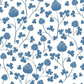 Wildflowers - Parisian Blue on White