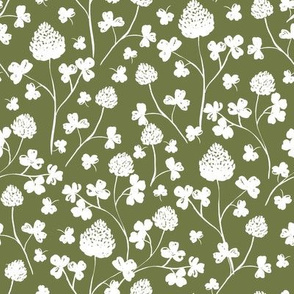Wildflowers - White on Forest Green