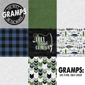 Gramps//Fishing//Green Blue - Wholecloth Cheater Quilt