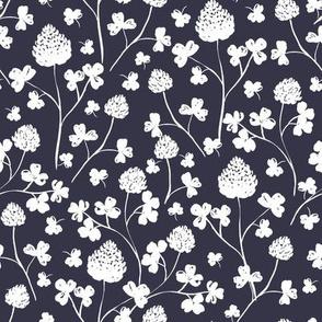 Wildflowers -  White on Indigo