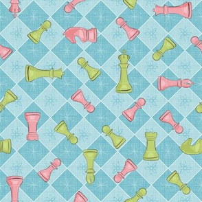 Atomic Age Chess ~ Blue Pink Green