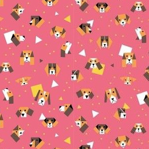 Beagle dogs and puppy's - pink