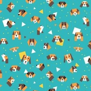 Beagle dogs and puppy's - green blue