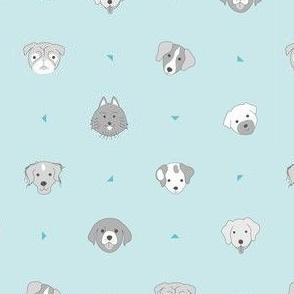 Dogs & dots - light blue
