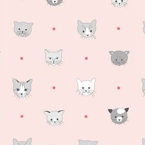 Cats & dots - pink
