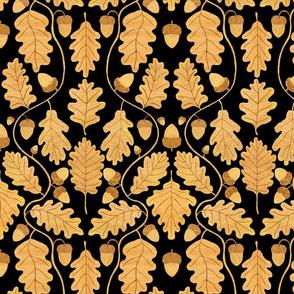 Golden oak leaves on black