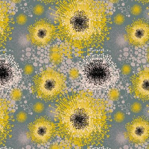 Mimosa fireworks in yellow on green