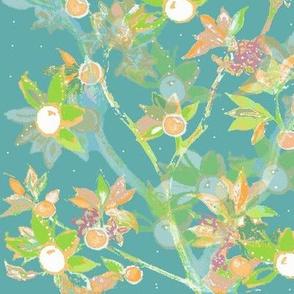 Creative Room Wallpaper - Creative Hand Drawn Citrus Trees On Aquamarine -