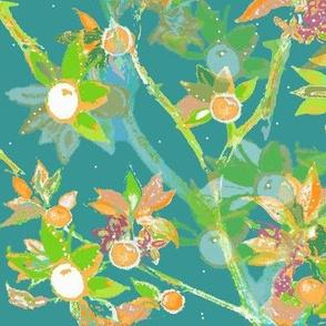 Seville Layered Watercolor Citrus Tree On Aqua