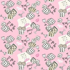 sip sip game on - tiaras dice- pink  XL105