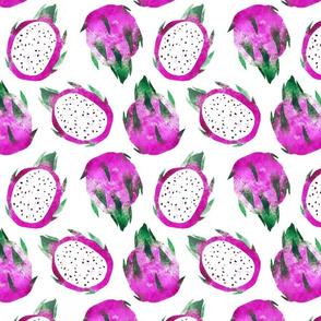 Watercolor Exotic tropical dragon fruit