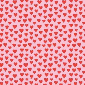 Little sweet lovers hand drawn hearts minimalist boho design nursery valentine red pink