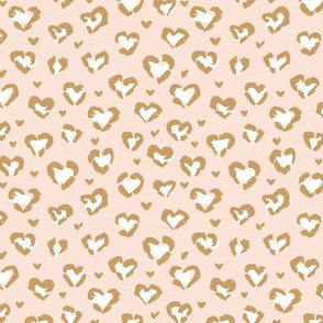 Little Valentine hearts leopard design messy animal print boho nursery trend beige golden yellow ochre SMALL