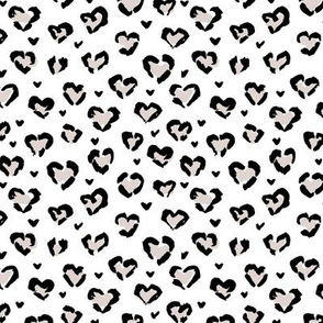 Little Valentine hearts leopard design messy animal print boho nursery trend neutral black and white beige SMALL