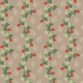 Geometric Christmas  holly garlands in fawn
