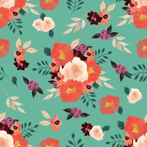 Peach_Coral Floral Bouquet Pattern Teal