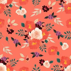 "12"" Peach | Coral Watercolor Floral"