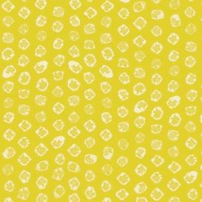 Shibori kanoko white dots over yellow