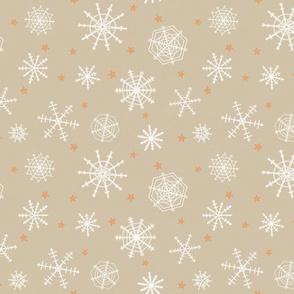 Snowflakes and stars on Kraft paper medium scale