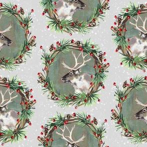Reindeer Wreaths on Gray