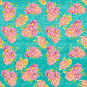 gerber daisies on teal words