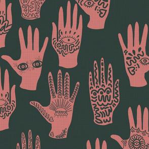 Symbolic Hands Pink & Green