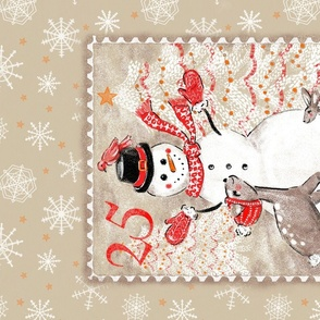 Christmas tea towel snowman and woodland friends postage stamp