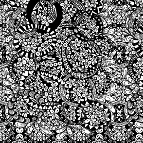 Crazy Floral in Black and White