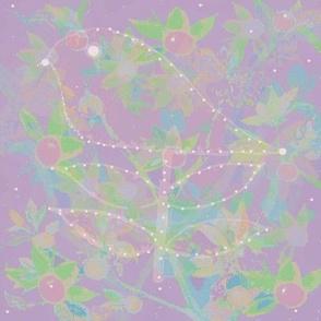 Bird Citrus Tree Collage On Lilac Purple