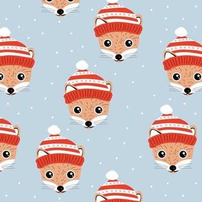 Little Scandinavian Woodland Christmas fox winter wonderland friends outback animals for kids cool baby blue red orange