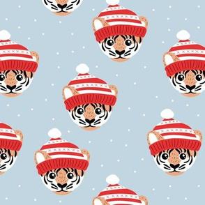 Little Christmas tiger winter wonderland friends outback animals for kids soft cool blue red