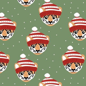 Little Christmas tiger winter wonderland friends outback animals for kids soft olive green red