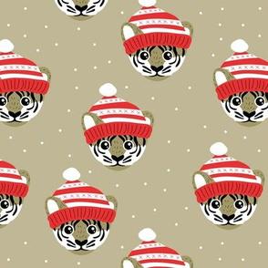 Little Christmas tiger winter wonderland friends outback animals for kids soft khaki beige brown