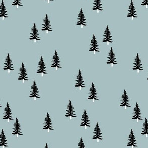 Little winter forest pine trees christmas design seasonal boho design blue black