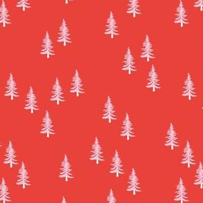Little winter forest pine trees christmas design seasonal boho design red pink