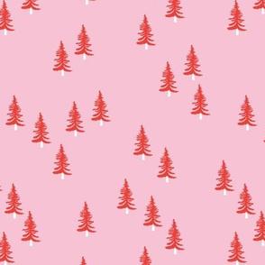 Little winter forest pine trees christmas design seasonal boho design pink red