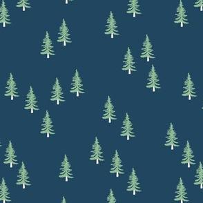Little winter forest pine trees christmas design seasonal boho design navy blue green
