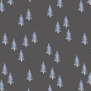 Little winter forest pine trees christmas design seasonal boho design duck egg blue gray