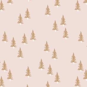 Little winter forest pine trees christmas design seasonal boho design beige sand cinnamon ochre