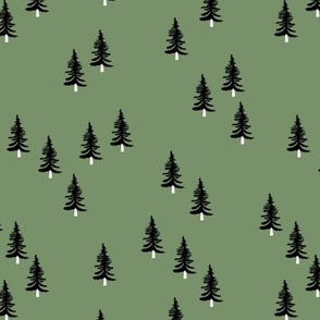 Little winter forest pine trees christmas design seasonal boho design green black