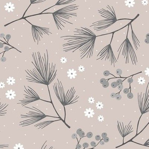 Pine needles and mistletoe christmas garden pine tree flowers boho leaves and branches design winter beige sand gray
