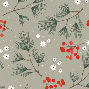 Pine needles and mistletoe christmas garden pine tree flowers boho leaves and branches design winter sage green red