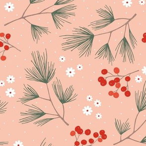 Pine needles and mistletoe christmas garden pine tree flowers boho leaves and branches design winter coral red green