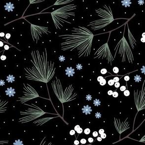 Pine needles and mistletoe christmas garden pine tree flowers boho leaves and branches design winter black green blue neutral