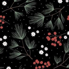 Pine needles and mistletoe christmas garden pine tree flowers boho leaves and branches design winter black red green