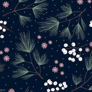 Pine needles and mistletoe christmas garden pine tree flowers boho leaves and branches design winter navy green mauve
